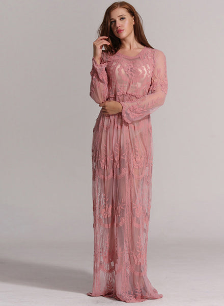 Long Sleeve Lace Maxi Bikini Cover-up Dress - girlyrose.com