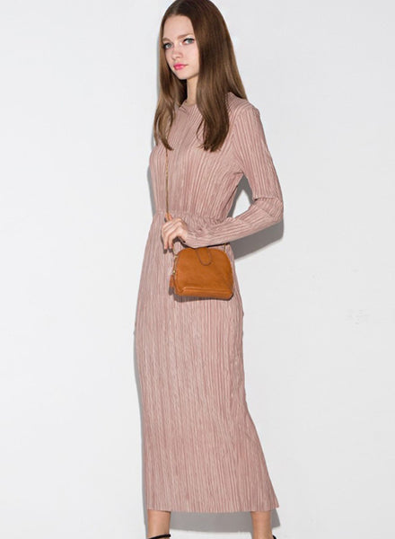 Long Sleeve Round Collar Maxi Dress