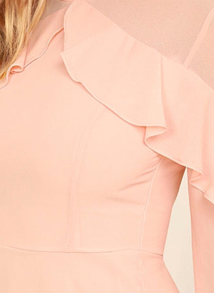 Pink Long Sleeve Ruffle Party A-line Dress