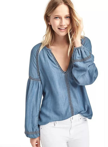 Loose V Neck Loose Denim Shirt - girlyrose.com