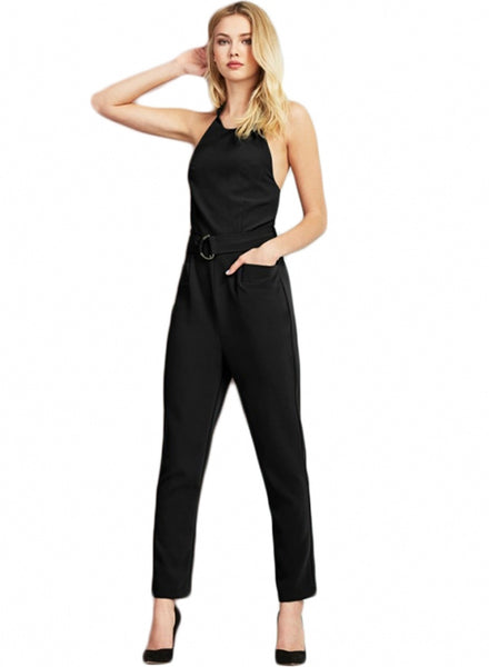 Metal Ring Lace-up Off Shoulder Jumpsuit - girlyrose.com