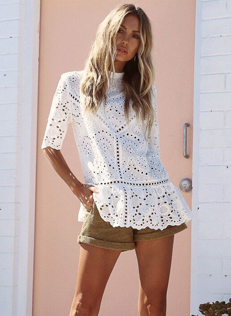 Mock Neck Half Sleeve Hollow out Lace Blouse