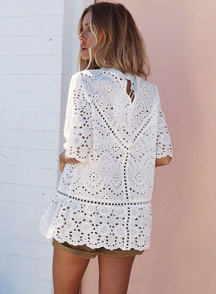 Mock Neck Half Sleeve Hollow out Lace Blouse - girlyrose.com