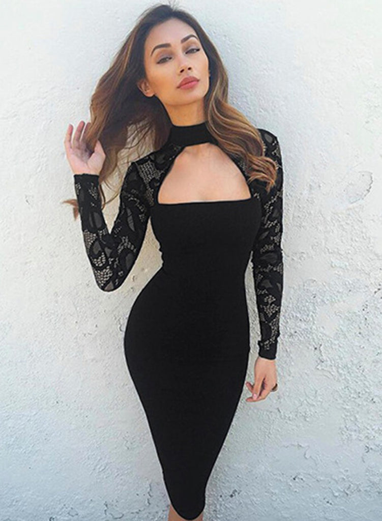 dce3633bf00 Black Mock Neck Long Sleeve Lace Panel Bodycon Dress – girlyrose.com