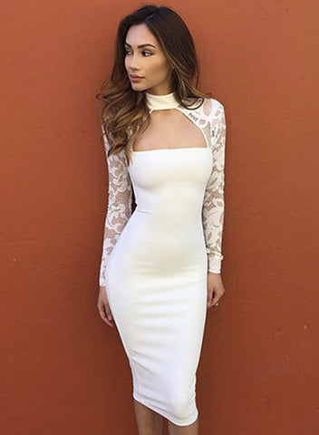 14a400cb0a3 Sale White Mock Neck Long Sleeve Lace Panel Bodycon Dress