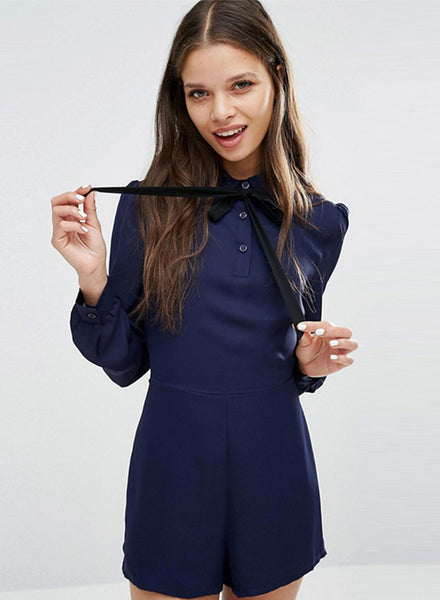 Navy Bow Lace-up Slim Jumpsuit - girlyrose.com