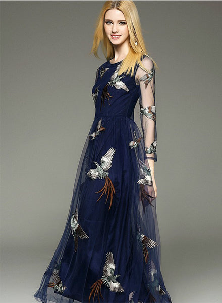 Navy Mesh Bird Embroidery Prom Dress - girlyrose.com
