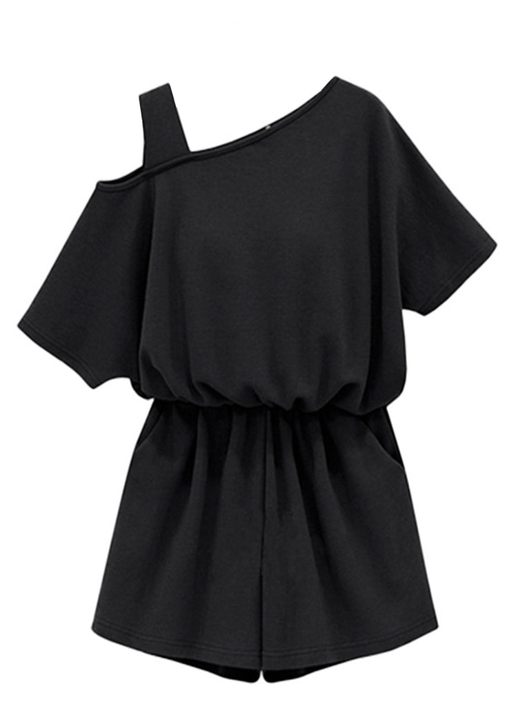 off One Shoulder Short Sleeve Solid Romper - girlyrose.com