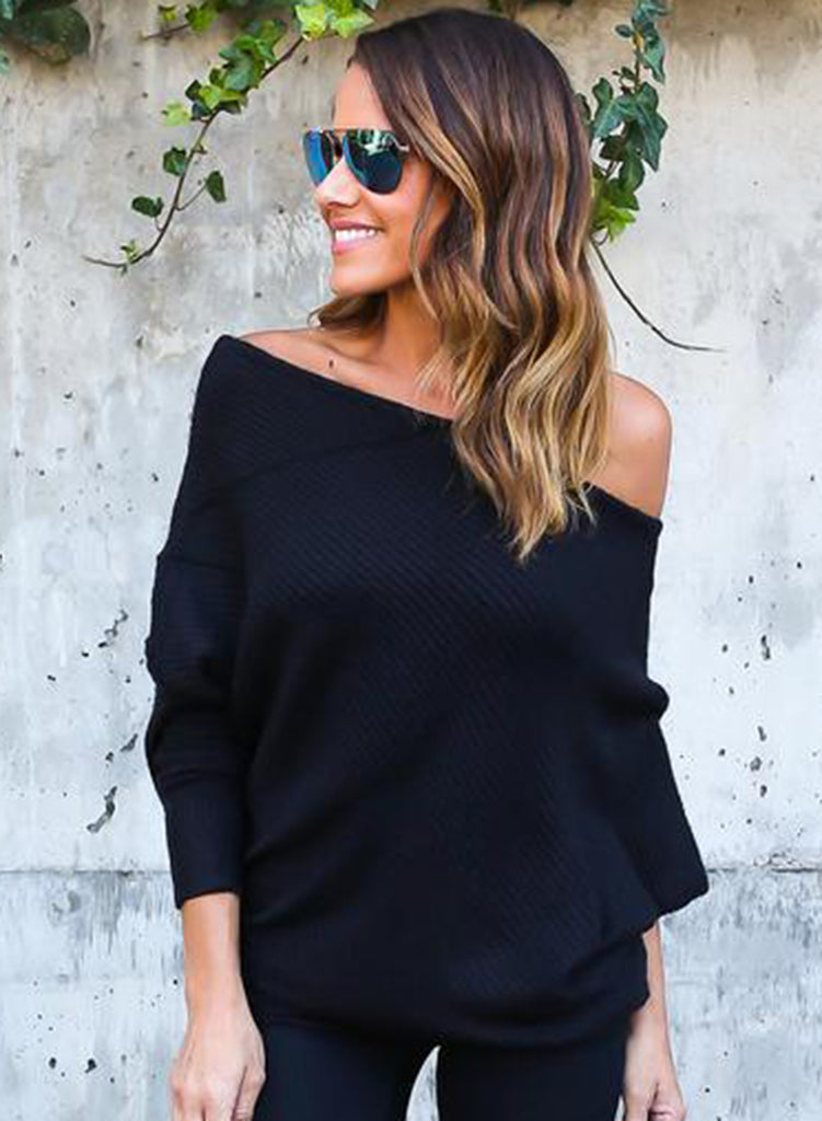 off Shoulder Batwing Sleeve Knitting Sweaters - girlyrose.com