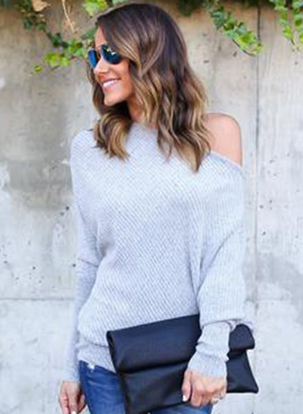 off Shoulder Batwing Sleeve Knitting Sweaters