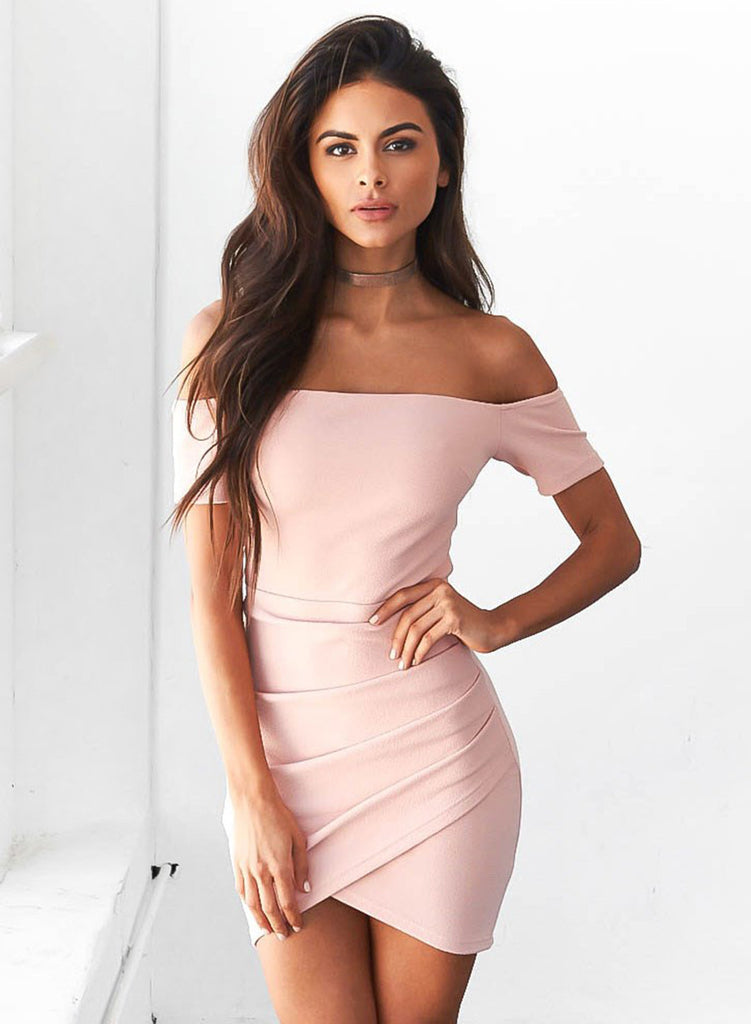 Pink off Shoulder Bodycon Irregular Dress