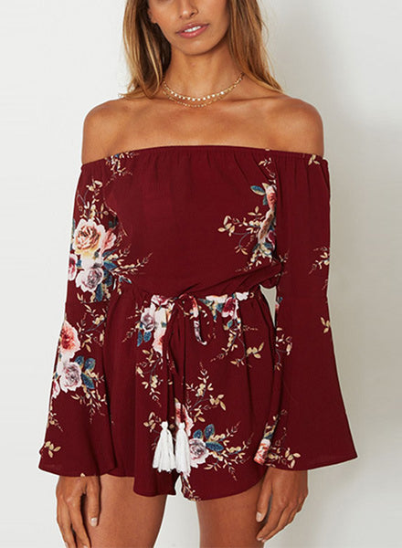off Shoulder Flare Sleeve Floral Printed Romper - girlyrose.com