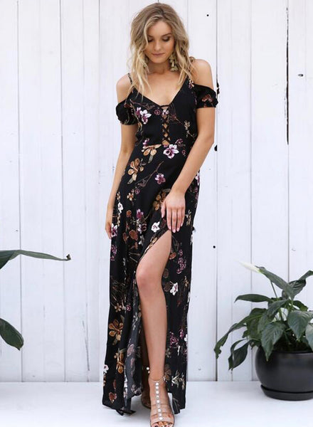 off Shoulder Floral Printed High Slit Dress - girlyrose.com