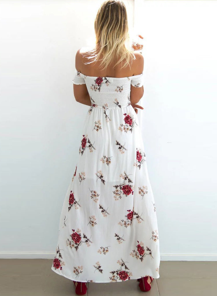 ff5d8e18bb2 White off Shoulder Floral Printed High Split Maxi Dress – girlyrose.com