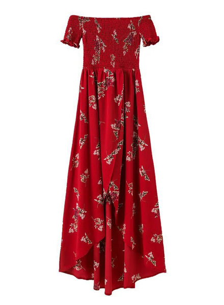 Burgundy off Shoulder Floral Printed High Split Maxi Dress
