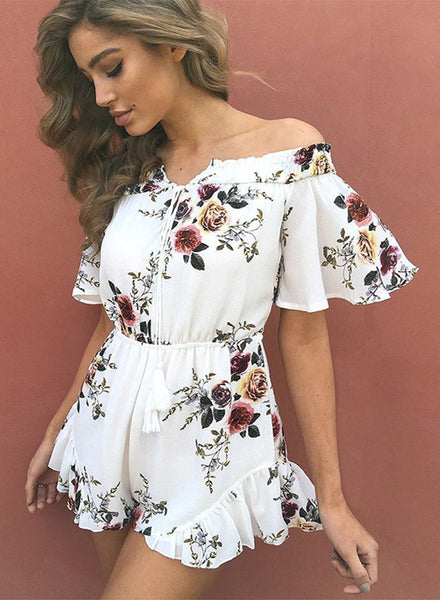 off Shoulder Floral Printed Ruffle Romper - girlyrose.com