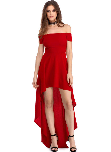 Red off Shoulder High Low Evening Dress