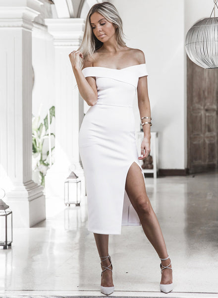 off Shoulder High Slit Bodycon Midi Party Dress