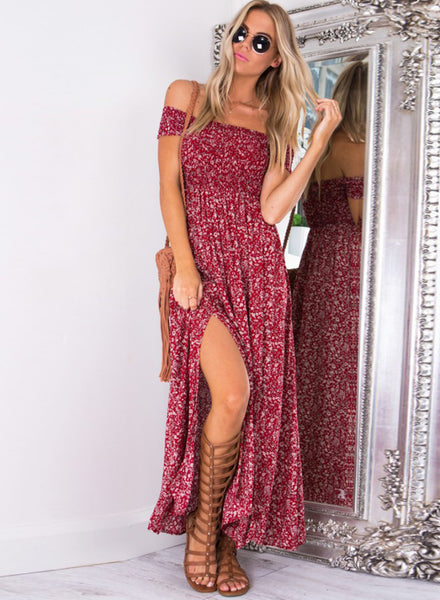 Red off Shoulder High Slit Floral Printed Maxi Dress - girlyrose.com