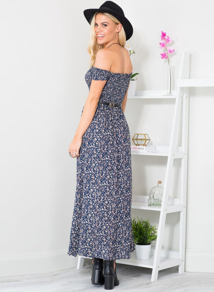 off Shoulder High Slit Floral Printed Maxi Dress - girlyrose.com