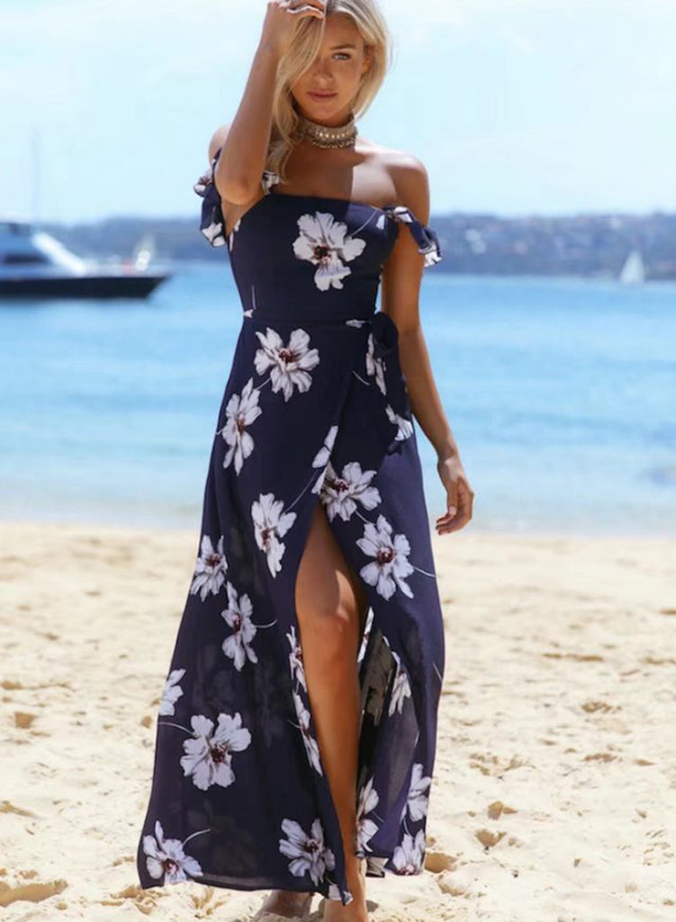 off Shoulder High Slit Maxi Floral Printed Bohemian Dress