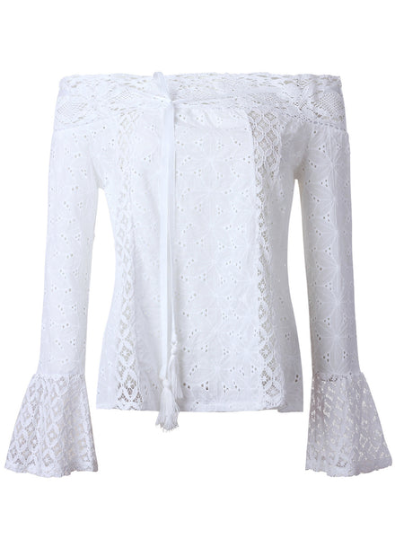 off Shoulder Long Sleeve Lace Hollow out Blouse