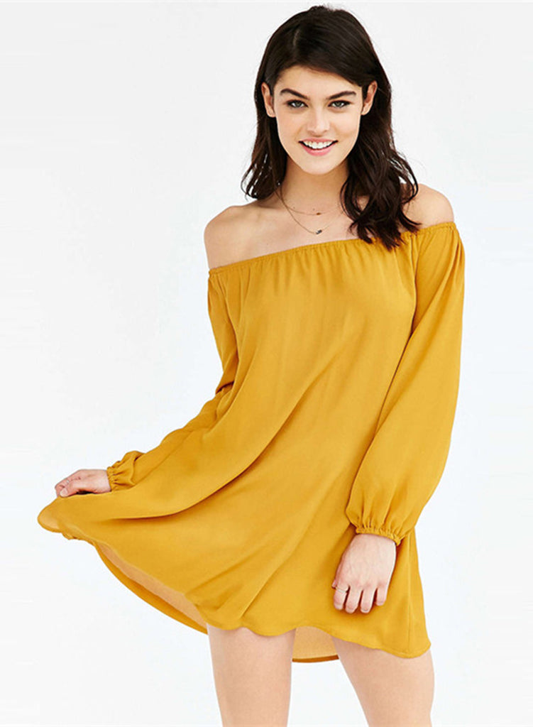 Yellow off Shoulder Long Sleeve Solid Dress - girlyrose.com
