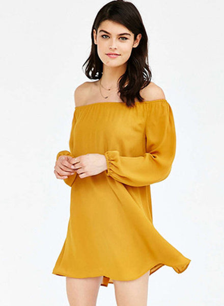 Yellow off Shoulder Long Sleeve Solid Dress