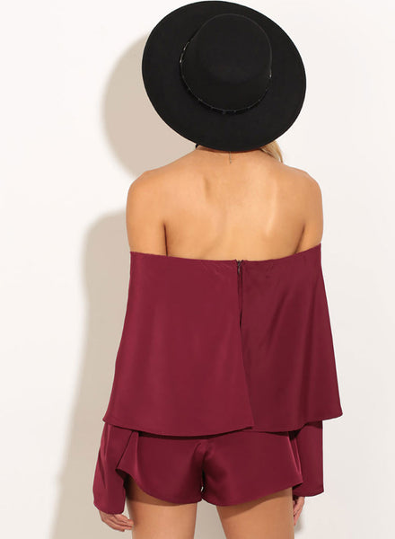 off Shoulder Long Sleeve Solid Romper