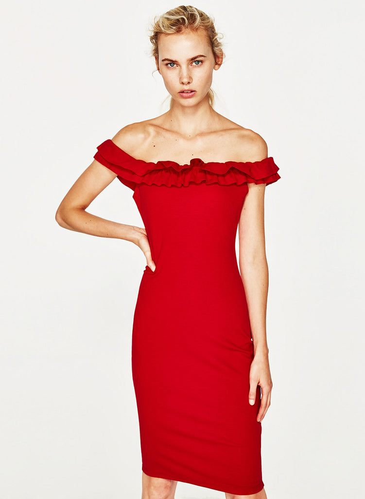Red off Shoulder Ruffle Bodycon Party Dress - girlyrose.com