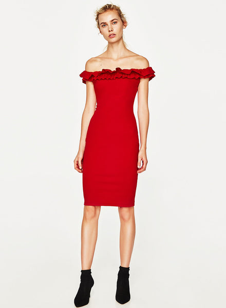 Red off Shoulder Ruffle Bodycon Party Dress
