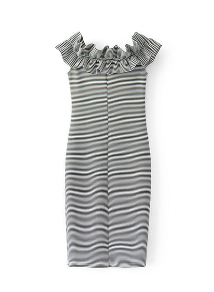 off Shoulder Ruffle Bodycon Party Dress - girlyrose.com