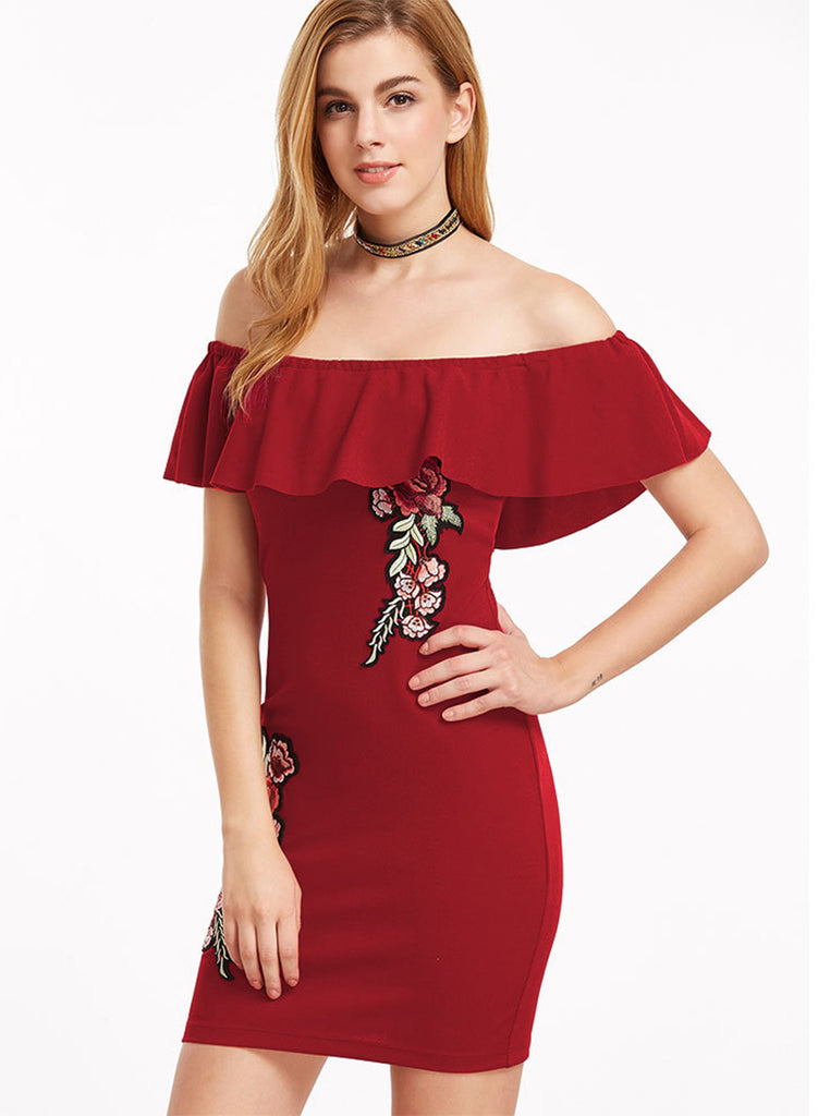 Red off Shoulder Ruffle Floral Embroidery Bodycon Dress