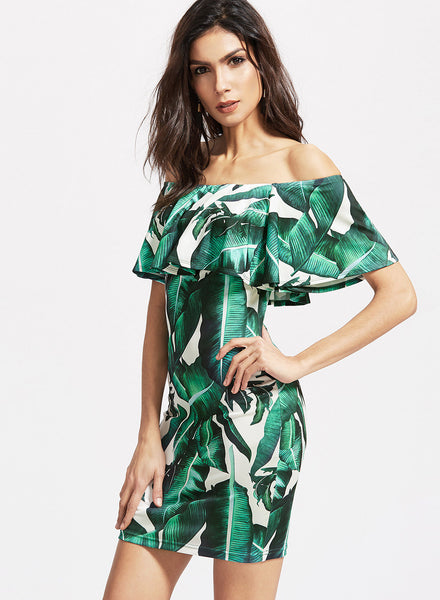 Green off Shoulder Ruffle Leaf Printed Bodycon Dress