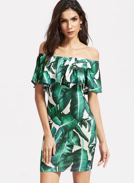 Green off Shoulder Ruffle Leaf Printed Bodycon Dress - girlyrose.com