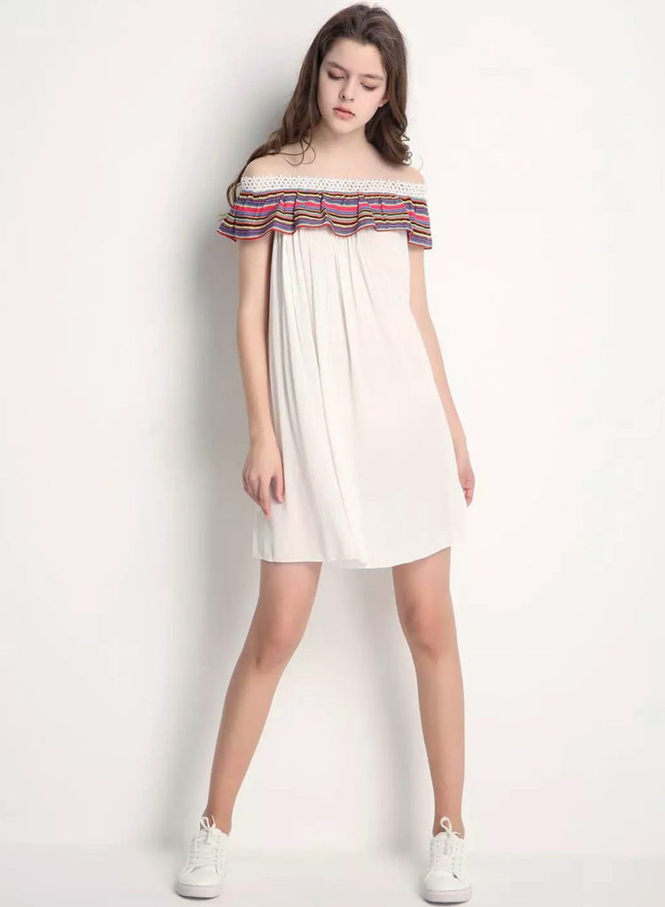 off Shoulder Ruffle Loose Fit Dress - girlyrose.com