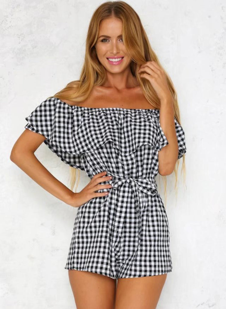 Off Shoulder Ruffle Plaid Tie Waist Romper - girlyrose.com