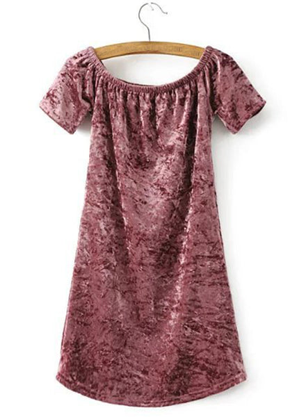off Shoulder Short Sleeve Bodycon Velvet Dress - girlyrose.com