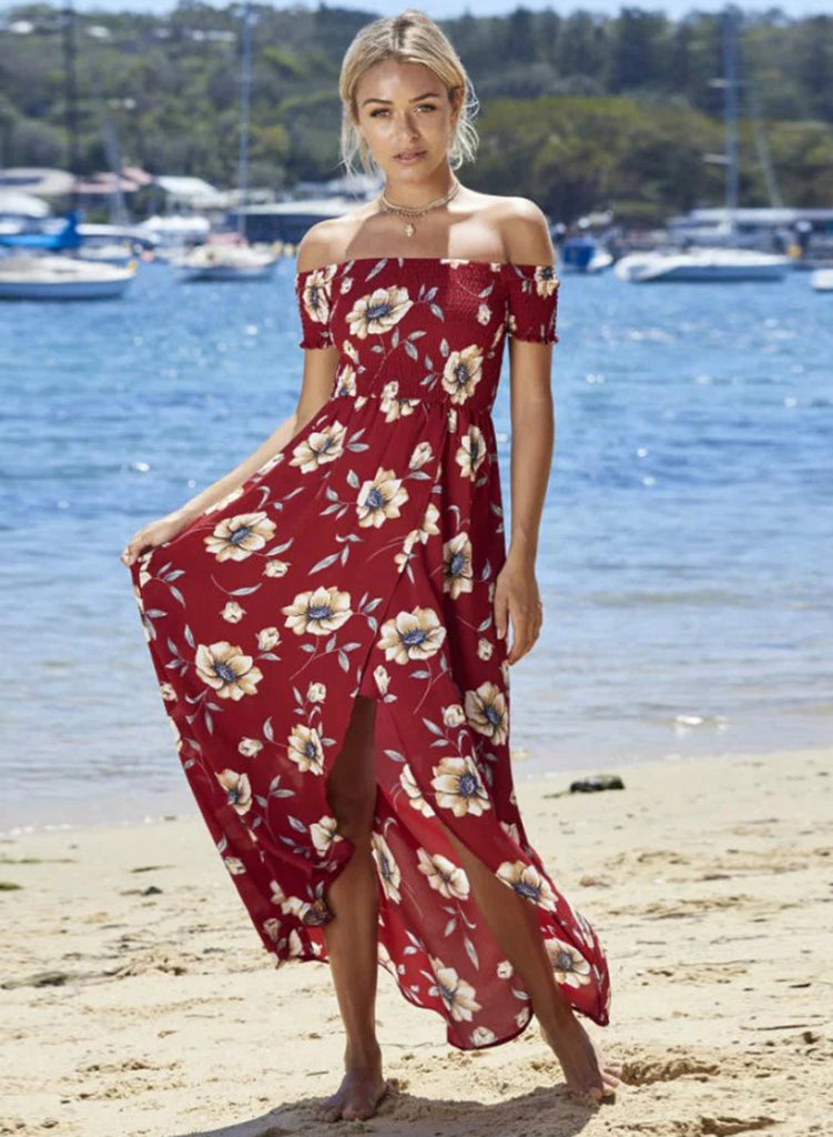 Burgundy off Shoulder Short Sleeve Floral Printed High Low Dress