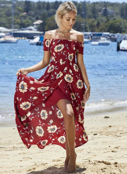 Burgundy off Shoulder Short Sleeve Floral Printed High Low Dress - girlyrose.com
