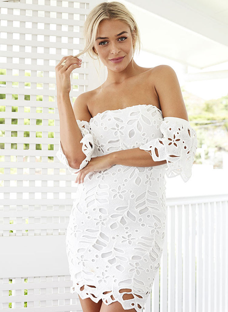 off Shoulder Short Sleeve Lace Bodycon Dress