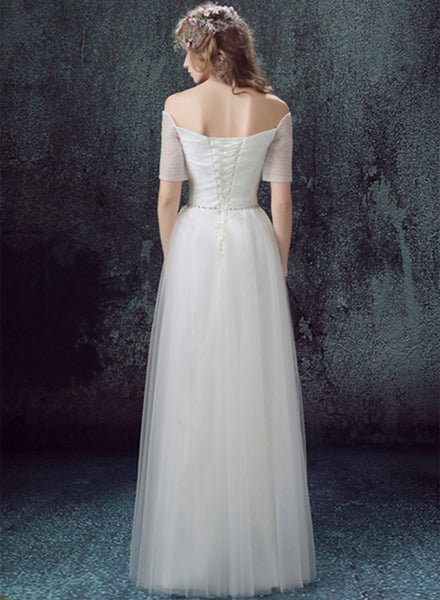 off Shoulder Short Sleeve Maxi Wedding Evening Dress