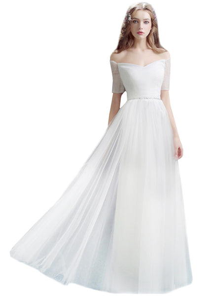 off Shoulder Short Sleeve Maxi Wedding Evening Dress - girlyrose.com