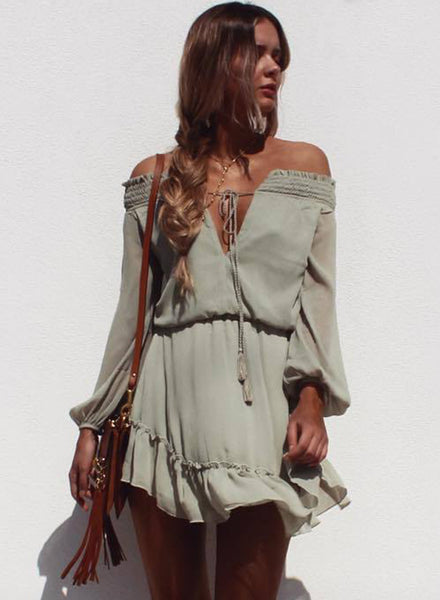 Olive grey off Shoulder V Neck Ruffle Chiffon Dress - girlyrose.com