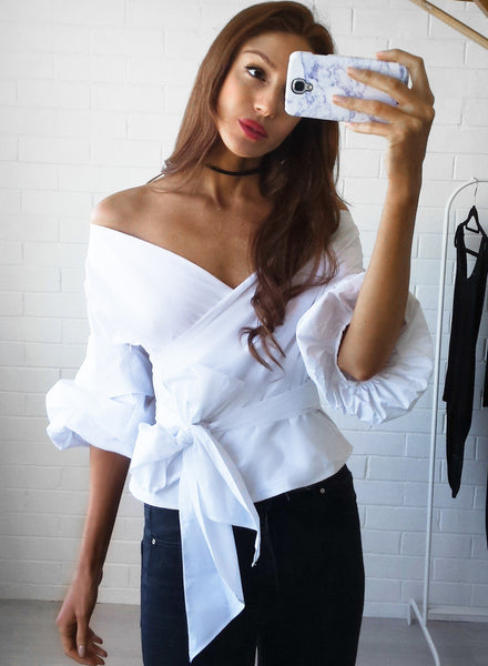 Off the Shoulder Deep V Bowknot Lantern Sleeve Blouse - girlyrose.com
