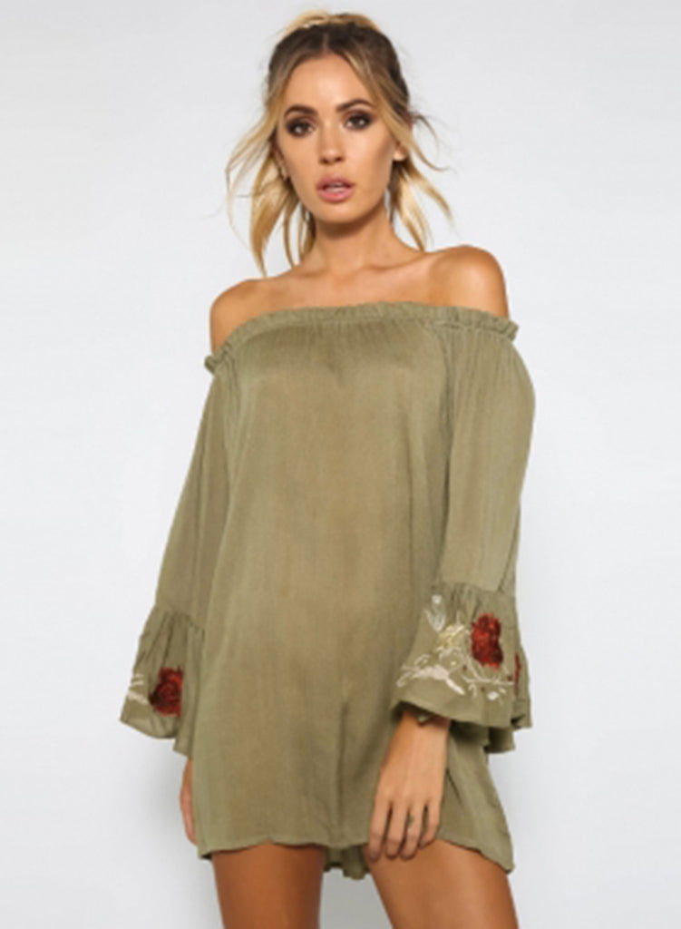 off the Shoulder Long Sleeve Loose Mini Dress