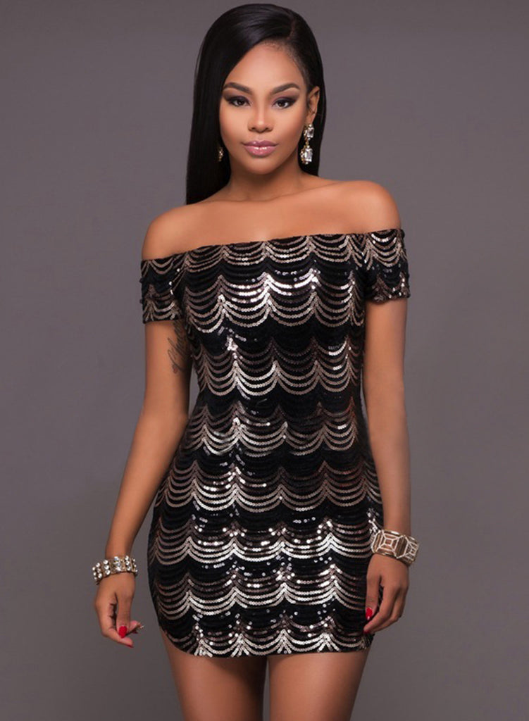 Off the Shoulder Sequins Bodycon Mini Club Dress - girlyrose.com