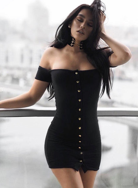 Black off the Shoulder Short Sleeve Bodycon Mini Dress - girlyrose.com