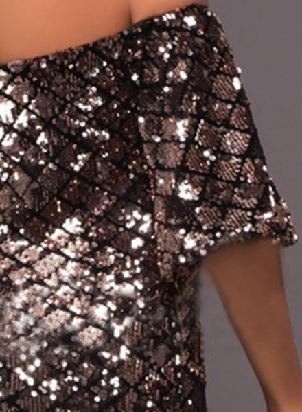 Off the Shoulder Short Sleeve Sequins Bodycon Dress - girlyrose.com