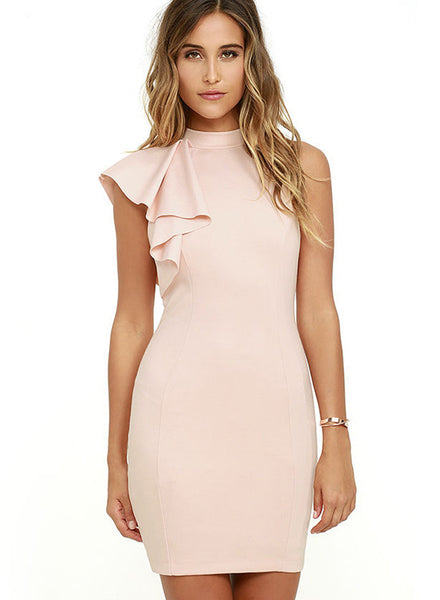 Pink One Ruffle Shoulder Bodycon Dress - girlyrose.com